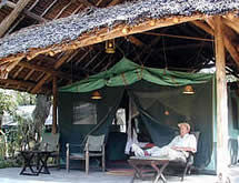 Relaxing under a tent in Mara Intrepids camp