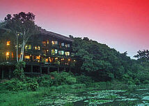 The shimba Hills Lodge seen at sunset
